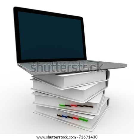 3d laptop sitting on top of books isolated on white