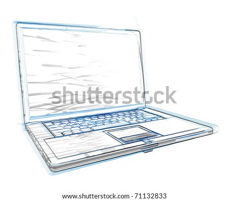 3d laptop sketch
