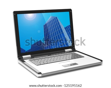 3d laptop. skyscraper on the laptop screen isolated on white background