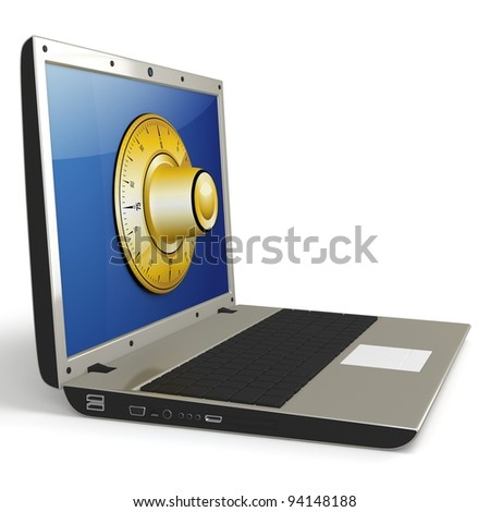 3d laptop with  combination wheel protection of digital data concept