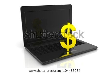 3D laptop with dollar concept