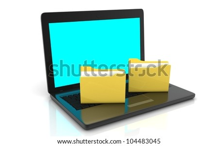 3D laptop with folder concept
