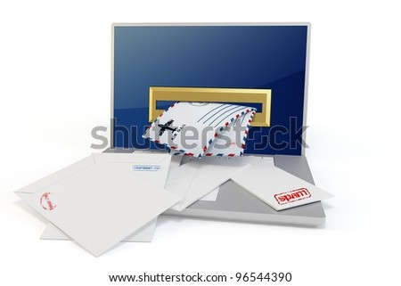 3d laptop with mails on white background