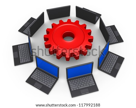 3d laptops around a cogwheel as network for common goal