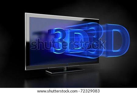 3D LED TV with  3D text