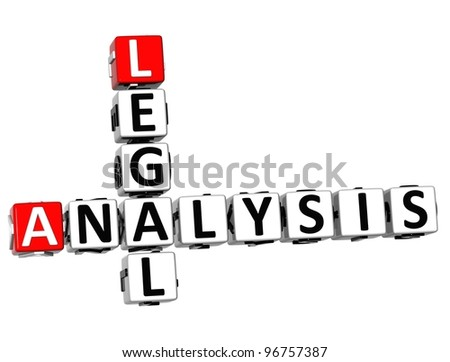 3D Legal Social Analysis Crossword cube words on white background