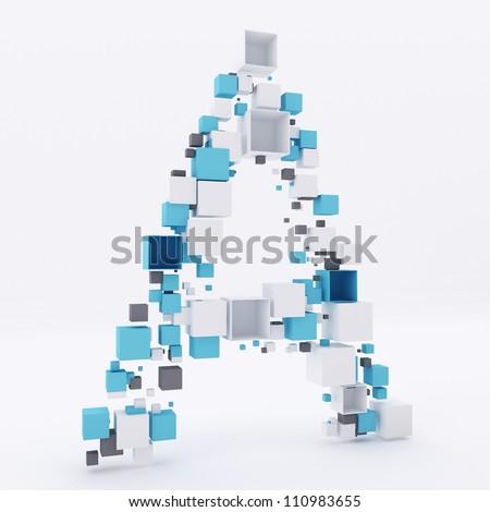 3D letter A build out of cubes