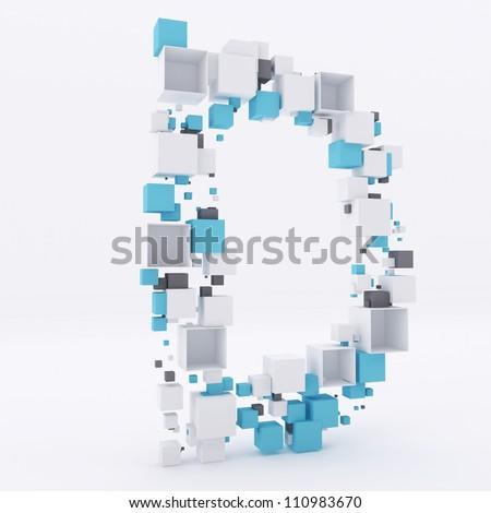 3D letter D build out of cubes