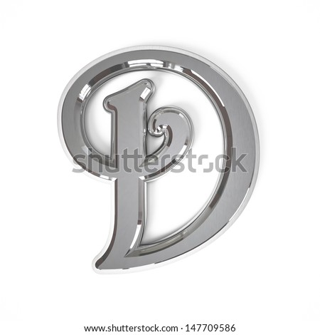 3d letter D whit metal surface isolated on a white background