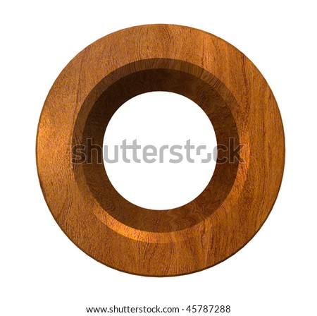 3d letter O in wood - stock photo