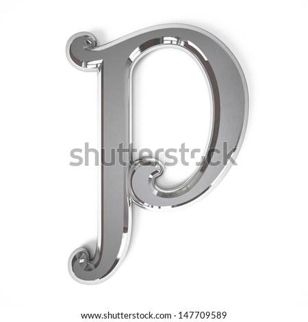 3d letter P whit metal surface isolated on a white background