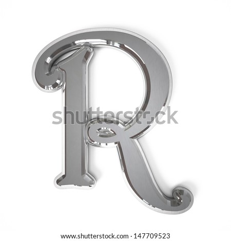 3d letter R whit metal surface isolated on a white background