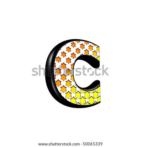 3d letter with orange star pattern - C