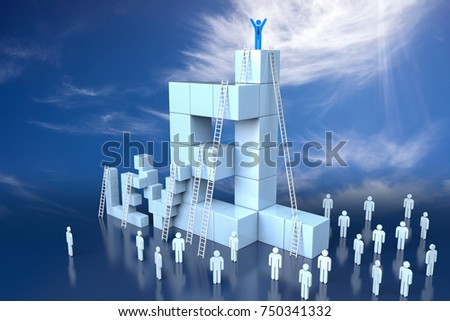 3D Level Block with Leadership Progress Concept. 3d rendering