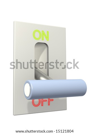 3d lever on position off. Object over white
