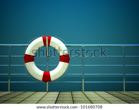 3d life ring and on safety barriers at the sea