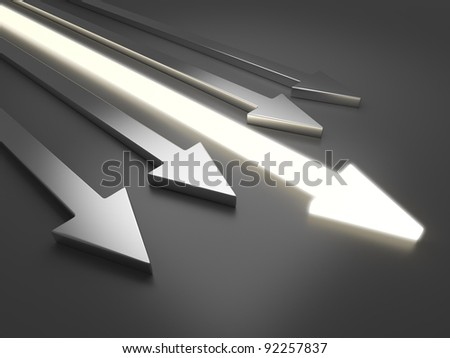 3D light arrow. Competition concept. On gray background