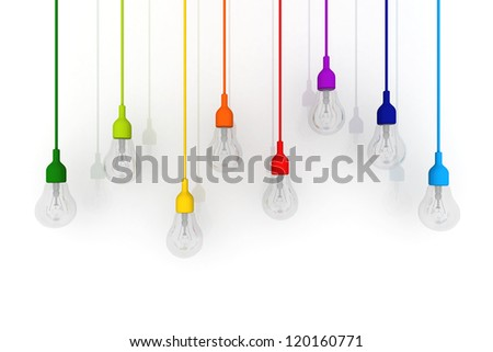 3D light bulb colorful Glass Concept on white background