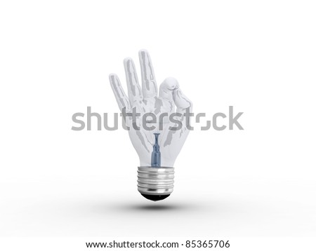 3D light bulb - hand OK