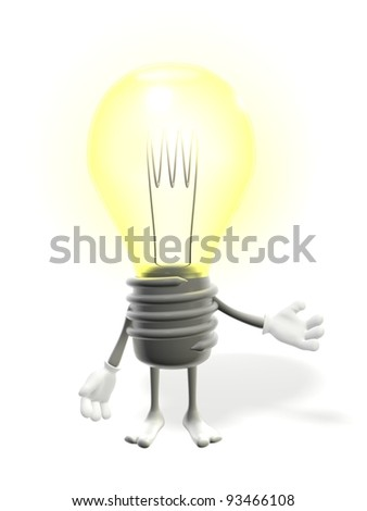 3D light bulb with arms and legs