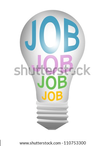 3d Light Bulb With Colorful Job Text Inside For Job Seeker Campaign Isolated on White Background