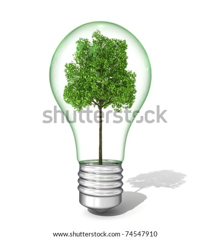 3d light bulb with tree inside - stock photo