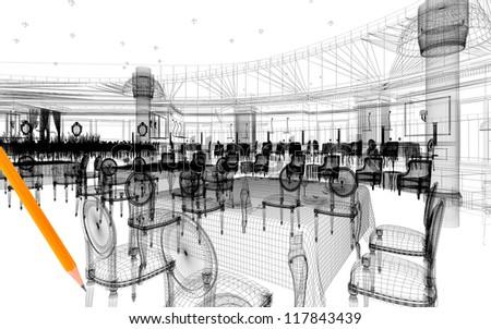 3d linear model of restaurant