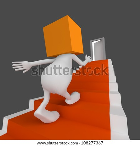 3d little cute people with cube orange head go up the stairs with open door on the end