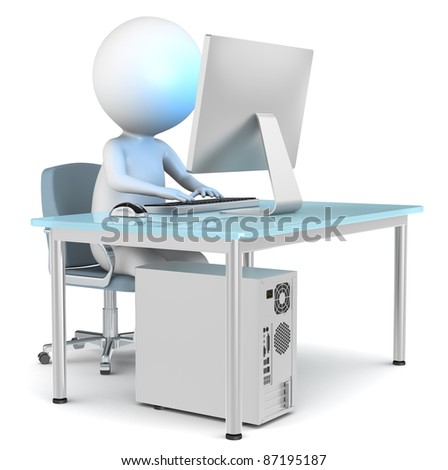 3D little human character at Work. Browser Window. Business People series.
