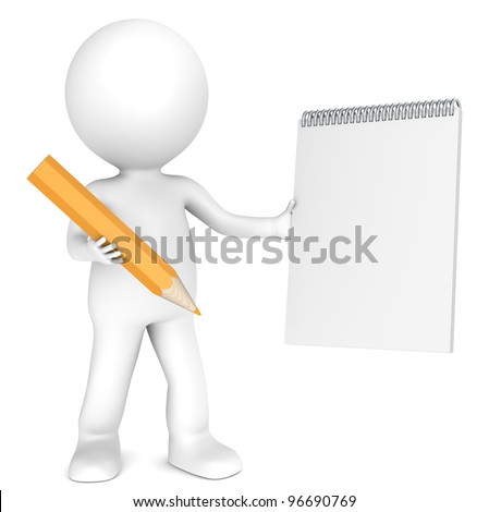 3D little human character holding a Blank Notepad and a Orange Pencil. Textured Paper. Copy Space. People series.