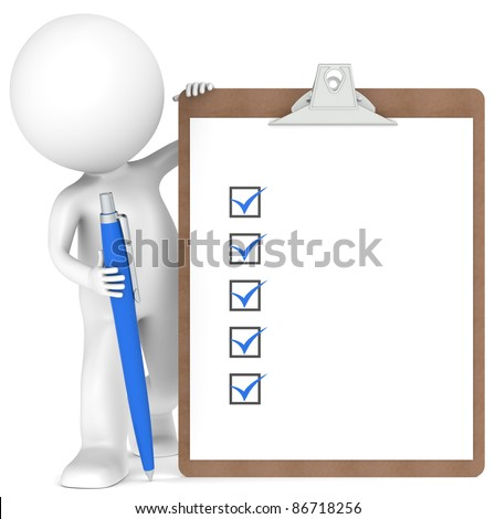 3D little human character holding a Clipboard with Checklist and a Pen. Blue color