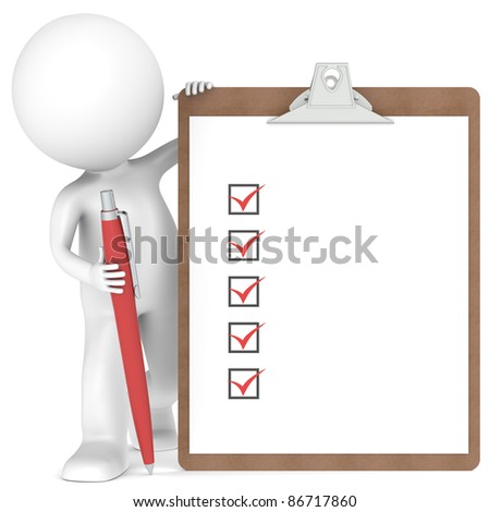 3D little human character holding a Clipboard with Checklist and a Pen. Red color