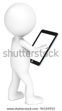 3D little human character holding a Tablet Pad. Blank screen for copy space. People series.