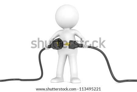 3D little human character holding Black Power Cable. Male and Female plug . People series.
