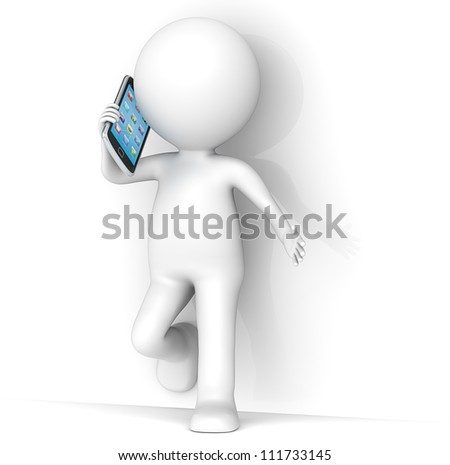 3D little human character leaning against a wall, talking on a Smartphone. People series.
