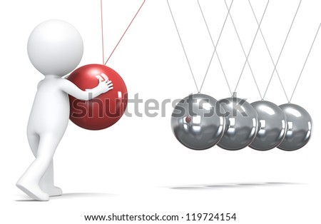 3D little human character pushing a ball in pendulum. People series.