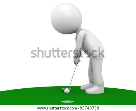 3D little human character The Golfer making a putt on Green. People series.
