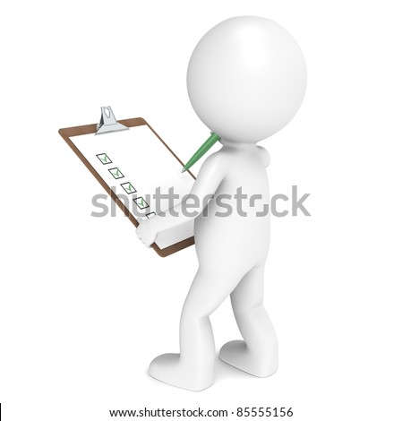 3D little human character The Inspector holding a Clip Board and a Pen. People series.