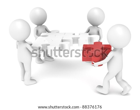 3d little human character X4 The Team solving a jigsaw puzzle. Red
