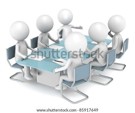 3D little human characters X6 in the meeting room. Business People series. - stock photo