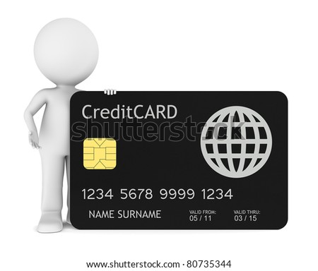 3D little human holding a Credit Card. Isolated.