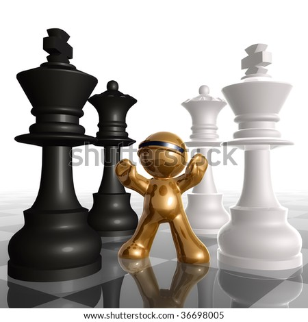 3d little icon between black and white chess king queen