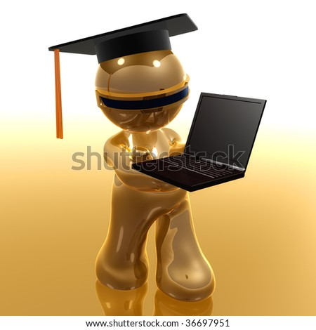 3d little icon graduated from distance learning