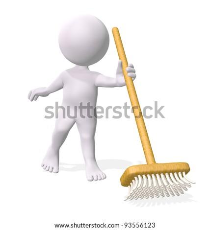 3D little man holding broom - stock photo