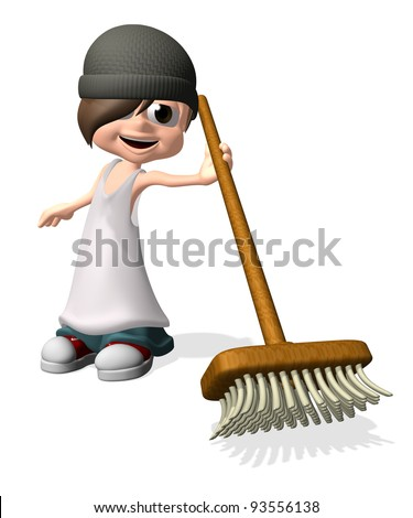 3D little man holding broom - stock photo