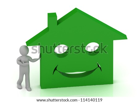 3D Little man invites his smiling green house. Abstract 3D illustration on white background