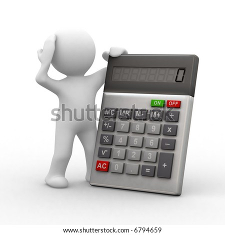 3d Little People In Front Of A Calculator Stock Photo