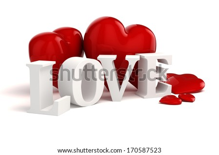 3d Love Text And Big Red Hearts On White Background Ez Canvas