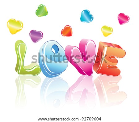 3d love word with hearts