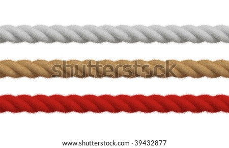3d macro render of three different colored ropes